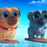Игра Дружные мопсы: Катание на Серфинге - картинка